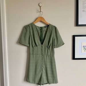 Green Button-up Playsuit from Nasty Gal
